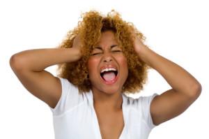 Young woman shouting.